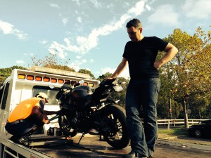 BMW S1000RR on tow truck