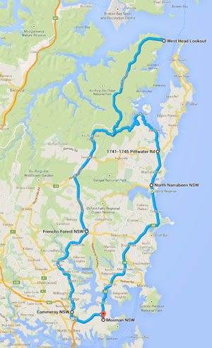 the route to-from West Head