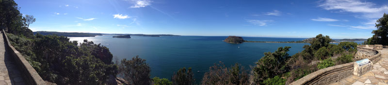 panoramic view of lion island, barrenjoey and pittwater